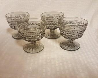 Vintage Blue Glass Goblets Set of 6