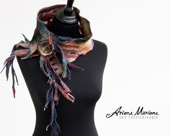 Funky Jewellery Art Scarf  - Multicolored women Accessories - Seaweed Inspired Neckwarmer - Handmade Designer Wear From Paris