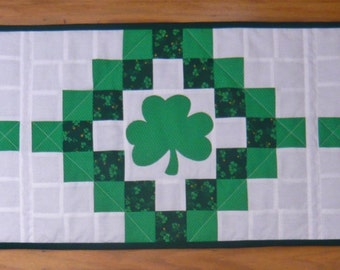 Handmade Quilted Table Runner - Shamrocks - St. Patty's Day