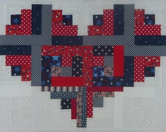 Patriotic Log Cabin Heart QuiltTop