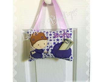 Personalized Girls Tooth Fairy Pillow , Girl embroidered tooth fairy pillow Girl tooth fairy pillow