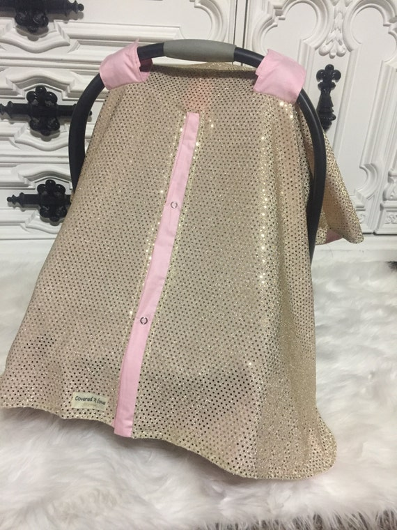 CAR SEAT COVER gold sparkle / Gold / Car Seat Canopy