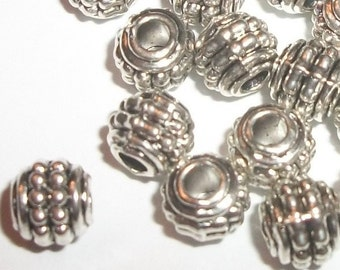 Antique silver plated pewter 7x6mm rondelle spacer beads -- 50 pieces  (9090)