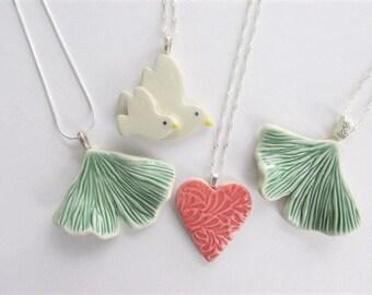 Porcelain Ginkgo Leaf Pendant, Nature Lovers Gift, Ginkgo Leaf Necklace, Green Ceramic Leaf Necklace, Art Jewelry Necklace, Ceramic necklace