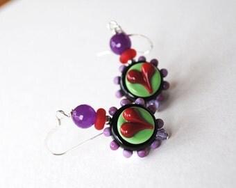 Purple Heart Earrings, Colorful Earrings, Heart Earrings, Lampwork Earrings, Sweetheart Earrings, Glass Bead Earrings, Valentines Day