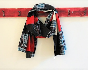 Patchwork Scarf, Plaid, Black Red Wrap from Upcycled Cotton Shirts, Pojagi Scarf, Boro Scarf