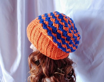 Orange blue skater hat Men's Chevron beanie Crochet stripes slouchy toque  Ribbed brim unisex grunge beanie Skull cap Stocking cap dreds