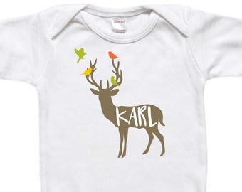 Personalized Baby Bodysuit - Toddler Shirt TShirt - Baby Gift - Deer with Birds Antlers