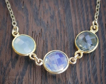 CHRISTMAS SALE Aqua Chalcedony, Opalite, and Crystal Quartz Necklace - 14K Gold Fill