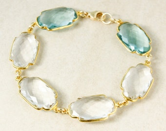Gold Crystal Quartz and Aqua Quartz Gemstone Bracelet - Spring Jewelry