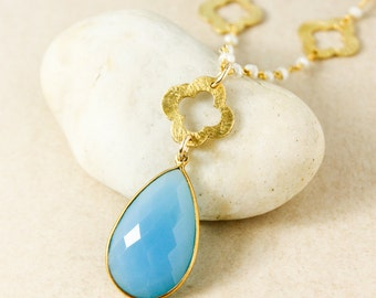 Gold Brushed Clover & Blue Chalcedony Teardrop Necklace - Dreamy Spring Jewelry - Boho Necklaces