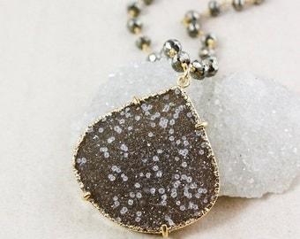 50 OFF SALE Natural Agate Druzy Necklace – Statement Pendant – Black Pyrite Chain