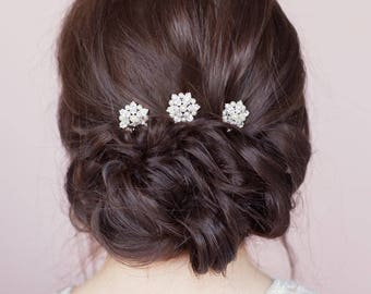 Set of three crystal and pearl cluster bridal bridesmaids hairpins