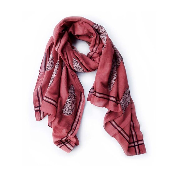 red Scarf cotton silk scarf scarves coral scarf wholesale scarves Block Print scarf natural ichcha women accessories valentine gift- Cypress