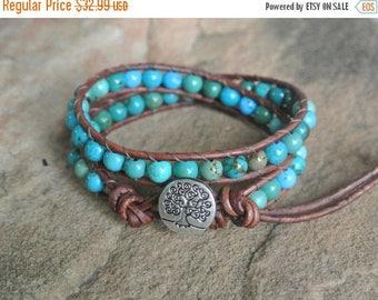 25% OFF SALE Tree of Life Turquoise Beaded Leather Wrap Bracelet