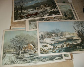 Group of Vintage 1972 Currier and Ives Place Setting mats in Original Box - Assorted Winter scenes - Crafts Art Decorative Neat Prints