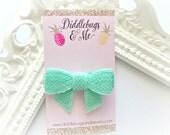 Light Mint Sequin Bow Hair Clip, Sequin Bow Hair Clip, Toddler Hair Bows, Piggy Tail Bows, Baby Bows, Sequin Hair Bows, Mint Hair Bows,