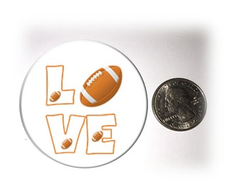 Love Football Refrigerator Magnet 2 1/4 inches in diameter