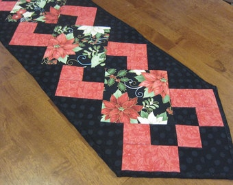 Christmas Holiday Poinsettia Rose and Black Pieced Quilted Table Runner Handmade CIJ