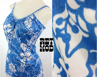 Pretty Vintage 60s 70s Cornflower Blue and White Floral One-Piece Flattering SwimSuit!