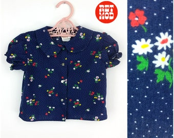 CHILD SIZE - Cute Vintage Hippie Navy Blue Floral Cotton Blouse with Peter Pan Collar!