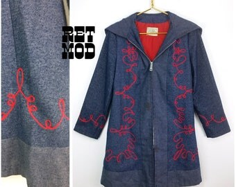 Cute Vintage 70s Blue Hippie Jacket with Red Zig Zag Trim and Hoodie!