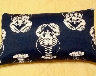 FREE SHIPPING 15x8 Indoor Outdoor Navy Blue and White Lobster Print Lumbar Pillow