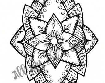 Adult Coloring Page - Geometric Flower Mandala - Instant Download - Zentangle - Doodle Illustration - DailyDoodler - Unique Lotus Flower