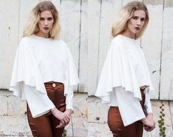 White Dramatic Long Sleeve Crew Neck Box Top XS S M L XL XXL