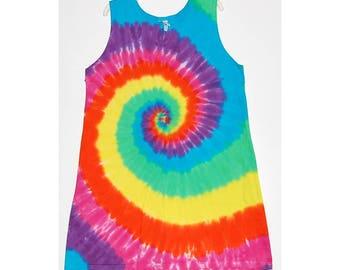 TIE DYE Dress Neon Rainbow Tye Dye Girl's Tank Top Dress hippie gypsy size 2T 4T 6 8 10 12 Grateful Dead tye dye