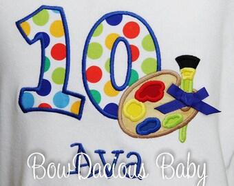 Art Birthday Shirt, Paint Palette Birthday Shirt, Girls Birthday Shirt, Number, Monogrammed Shirt, Girls Birthday Shirt, Birthday, Gift