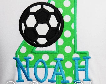 Boy's Soccer Birthday Shirt or Bodysuit, Soccer Ball Number, Monogrammed, Custom Fabrics, Colors, and Font, Soccer Party Shirt