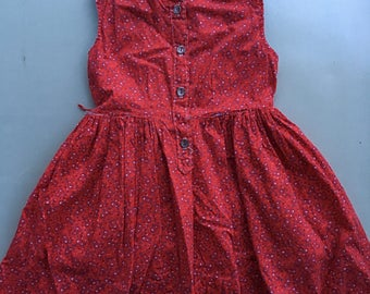 Handmade 60s/70s girls red paisley dress approximately 4t