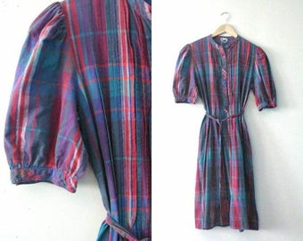 SALE Vintage 80s plaid dress / Hipster plaid cotton day dress / Summer frock dress
