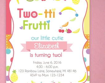 Tutti Frutti Invitations, Tuity Fruity Birthday, Two Year Old Birthday, Fruit Invitations