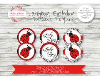Ladybug Ladybug Cupcake Toppers - Ladybug Party Cupcake Toppers - Ladybug Party Favor - Ladybug Party Supplies - INSTANT DOWNLOAD - Lady bug