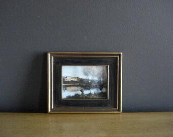 Villa D'Aray - Vintage Black and Gold Frame with Old Landscape Print