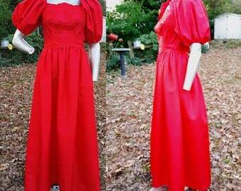 80s Prom Dress in Red, Vintage Bridesmaid Dress, 80s Dress, Vintage Dress, 80s Costume Size 2