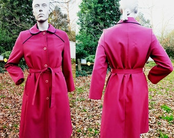 Womens 70s Trench Coat in Maroon by Sears, Vintage Coat, Vintage Trench Coat, The Fashion Place Size 12-14