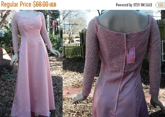 SALE 30% OFF Vintage Bridesmaid Dress/ Evening Gown /Mother of the Bride Dress New with Tags by Le Star Bridal Formal in Dusty Pink Satin &
