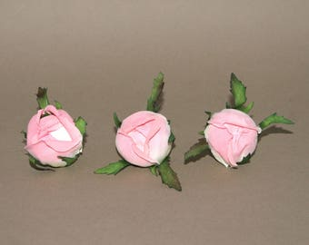 3 Cream Pink Cabbage Rose Buds - Silk Flowers, Artificial Flowers