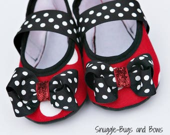 Red Polka Dot Play Slippers (Sizes 1 - 12) MEASURE your child's foot PLEASE