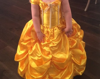 Belle beauty and the beast Inspired Costume Birthday girl toddler princess dress size 2 ,6, 8 and 10