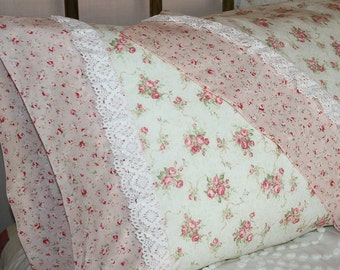 Exquisite Antique Style Pink Roses and Sage Green with Vintage Cluny Lace, Gift Quality Handmade Cotton Queen Pillowcases - Set of Two