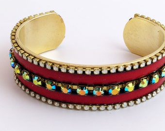 Red Leather and Crystal Cuff Bracelet