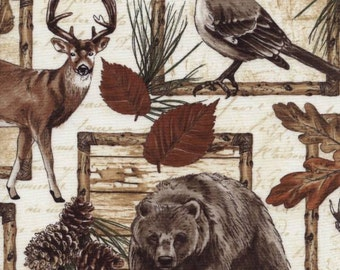 Timeless Treasures Cabin Rules Deer, Bear, Moose Patch Wildlife Cream Fabric by the yard C4802-CRM
