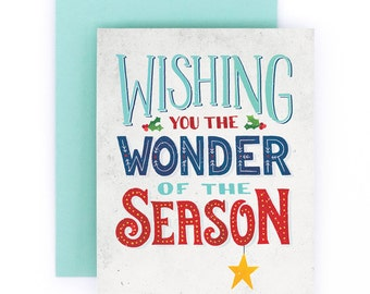 Wishing You the Wonder of the Season | Christmas Greeting Card | Hand Lettered | White | A2 | Made in USA | GC014