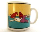 The Far Side 1982 Gary Larson Coffee Cup Mug  DOGS TICKLE MAN