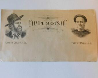 1880 Antique Victorian Scrap Vaudeville Theater Playbill Card Charles Parsloe Chinaman Yellow Louis Aldrich My Partner