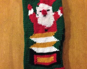 Santa Christmas Stocking, Santa In A Box Christmas Stocking,Christmas Stocking, Personalized Stocking